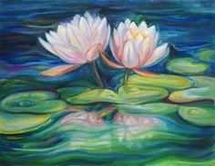 "Original oil painting. ""Water Lilies"". Size: 35 on 45 cm (13.7 on 17.7 inches) #original #painting #art #flowers #lotus #water #oil #canvas #Svetlana_Senchurova"