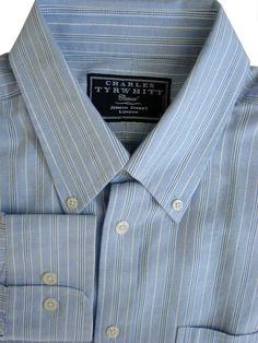 1496f83c2d CHARLES TYRWHITT CASUAL Shirt Mens 17 L Light Blue - Stripes - £22.99