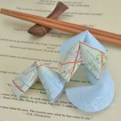 Bon Voyage card alternative origami fortune cookies featuring travel quotes £5.50