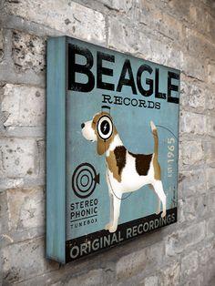 Beagle Records album style artwork original illustration graphic art on 12 x 12 canvas by stephen fowler. $80.00, via Etsy.
