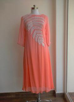 Helix Enterprise Designer Peach Colour Georgette Embroidered Kurti Material Kurtas and Kurtis For Women Pakistani Dress Design, Pakistani Dresses, Indian Dresses, Indian Outfits, Pakistani Clothing, Punjabi Dress, Punjabi Suits, Tunic Designs, Kurta Designs
