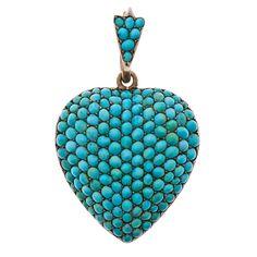 Large Antique Turquoise Heart Locket - Fourtane