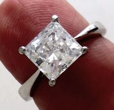 2 00 Ct Princess Cut Man Made Diamond Engagement Ring Genuine Solid Platinum | eBay