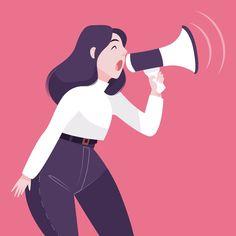 Woman with megaphone screaming illustrat. Art And Illustration, Character Illustration, Art Illustrations, Character Sketches, Character Design, Animation Character, Cartoon Man, Cartoon Faces, Digital Art Girl
