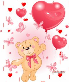 Illustration about Valentine s Teddy Bear Hanging from a heart shape Balloons. Illustration of painting, party, teddy - 17797169 Butterfly Balloons, Heart Balloons, Teddy Bear With Heart, Balloon Cartoon, Share Pictures, Animated Gifs, Bear Images, Christmas Teddy Bear, Cute Teddy Bears