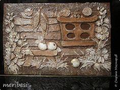 Картина панно рисунок Лепка Панно с пользой дела Гипс Глина Краска Мешковина фото 1