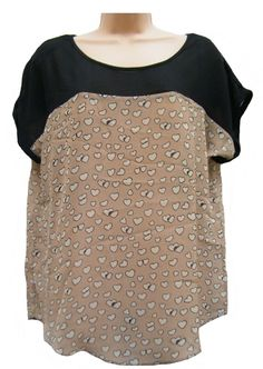WOMENS BEIGE/BLACK MARINA KANEVA LOVE HEART CASUAL FLOATY TOP BLOUSE SIZE 12