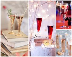 champagne cocktails decoration for winter wedding