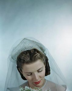 A bride wearing a deeply lovely beaded pearl veil.A bride wearing a deeply lovely beaded pearl veil. On Your Wedding Day, Perfect Wedding, Dream Wedding, Vintage Bridal, Vintage Weddings, 1940s Wedding, Wedding Veil, Wedding Gowns, Bridal Gowns