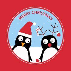 Christmas Penguins - Red Border