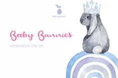 Baby Bunnies, Cute Bunny, Clipart Baby, White Rabbits, Elements Of Art, Printable Wall Art, Baby Animals, Watercolour, Nursery