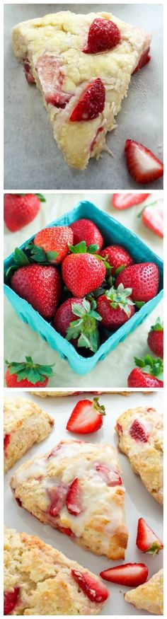 Strawberries and Cream Scones - moist and tender scones loaded with fresh strawberries!