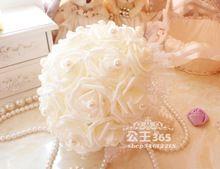 Envío gratuito white Wedding ramos de mano un manojo de color de rosa nupcial embrague ramo dama de honor de la boda novia mano flores(China (Mainland))