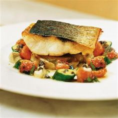 Roasted sea bass with braised fennel and aubergine purée Recipe | delicious. Magazine free recipes