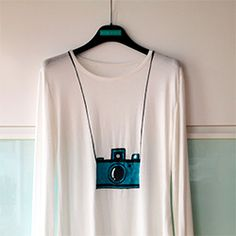 DIY hand painted camera on t-shirt. @Jean Loang Allsopp