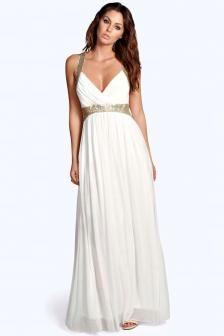 Vestido de novia civil blanco y dorado $ 70.000