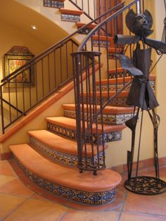 Decorating: Rustic Family Room With Rustic Floor Tiles Stairs Wood Beams And Green Livingroom Sofa Tiled Staircase, Rustic Staircase, Tile Stairs, Flooring For Stairs, Staircase Design, Staircases, Staircase Ideas, Staircase Remodel, Staircase Railings