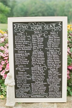 chalkboard seat assignment ideas #southernwedding #classicwedding #escortideas http://www.weddingchicks.com/2014/01/09/southern-wedding/