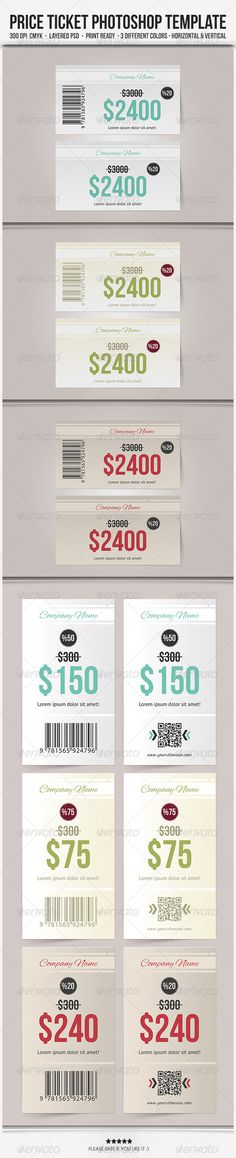 """Price Ticket - Photoshop Template #GraphicRiver FEATURES 6 PSD files; Blue, Blue2, Green, Green2, Red, Red2 1 Info.txt & 1 Background Gradients One-way design 3 different colors Horizontal & Vertical Easy to customize Editable text/colors Well organized layer Work organized in folders Print ready DIMENSIONS 2"""" x 3.5"""" (2.25"""" x 3.75"""" with bleeds + trim mark) 300 DPI CMYK Colors FREE FONTS Bebas Neue Alex Brush PT Sans Created: 25October13 GraphicsFilesIncluded: PhotoshopPSD Layered: Yes…"""
