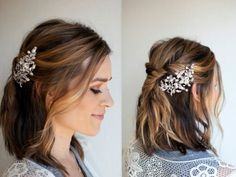 THREE DIY Bridal Hair Tutorials: Hi ladies, I have partnered with Nume to create three DIY bridal hairstyles that are SIMPLE stylis. Visit us at DisconnectedHair for more great ideas. Diy Bridal Hair, Wedding Hair And Makeup, Wedding Hair Accessories, Haircuts For Medium Length Hair, Medium Hair Styles, Short Hair Styles, Bridesmaid Hair Tutorial, Bridal Hair Tutorial, Short Hair Updo
