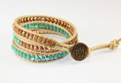 Leather Triple Wrap Bracelet, Turquoise and Gold, $48