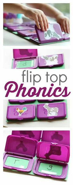 Recycle wipe container lids with this easy flip top phonics game. Recycle wipe container lids with this easy flip top phonics game. Phonics Games For Kids, Alphabet Activities, Literacy Activities, Educational Activities, Activities For Kids, Early Learning, Fun Learning, Jolly Phonics, Teaching Letters