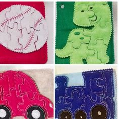 Boy's Felt puzzle quiet book which includes 4 puzzles, 4 quiet book pages with a pocket on the back to hold all of the pieces for each puzzle- Red car, blue train, green dinosaur, and baseball. All of
