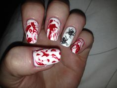 Halloween blood splatter finger nails w spider 2013
