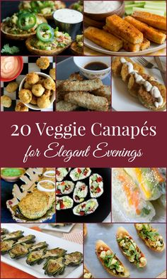 """20 Veggie and Vegan canape recipes for Elegant Entertaining -- Fm Vegan Guacamole Potato Skins to Grilled Baby Artichokes to Buffalo Tofu wings and a """"Beer Battered recipe"""" ♦♦ EXPLORE for More . Vegetarian Canapes, Vegetarian Buffet, Vegan Appetizers, Vegan Snacks, Vegan Recipes, Cooking Recipes, Vegetarian Food, Vegan Party Food, Best Party Food"""