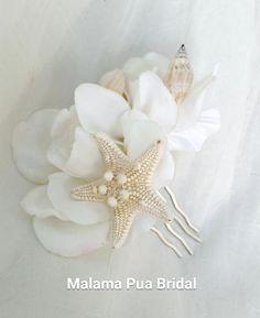 BEACH WEDDING Hair comb, Hairpiece, hair accessory, Gardenia, Starfish, shell, Tropical flower, Bridal hair piece, Hair flower, Headpiece