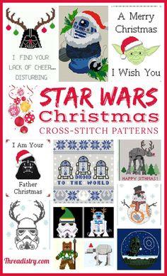 The best Star Wars Christmas Cross-Stitch patterns Star Wars Christmas Decorations, Diy Christmas Star, Merry Christmas, Darth Vader Christmas, Minecraft Christmas, Disney Christmas, Christmas Time, Christmas Ornaments, Xmas Cross Stitch