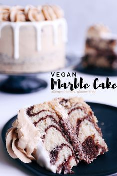 Delicious, moist and fluffy vegan marble cake is the perfect recipe to bake when you can't decide between chocolate or vanilla! Easy to make. Vegan Dessert Recipes, Donut Recipes, Delicious Vegan Recipes, Eggless Desserts, Health Desserts, Chocolate And Vanilla Cake, Vegan Chocolate, Vegan Vanilla Cake, Healthy Cake