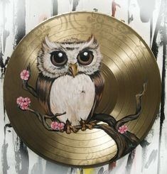 Chubby Owl painted on a vinyl record Pinned by www.myowlbarn.com