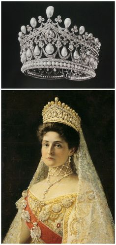 """Above: Tiara, likely created by the court jeweller Bolin for Empress Alexandra Feodorovna of Russia. Image from A. E. Fersman's catalog """"Diamond Fund of the USSR,"""" published around 1924-26, via Elena Horvathova on LiveJournal (http://eho-2013.livejournal.com/62382.html). Below: Portrait of Tsaritsa Alexandra Feodorovna, by Ilya Yefimovich Repin, Russia, 1896, Hillwood Estate, Museum & Gardens, via Wikimedia Commons. CLICK FOR LARGER IMAGES."""