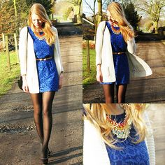 Get this look: http://lb.nu/look/5841507  More looks by Simone Shares: http://lb.nu/simoneshares  Items in this look:  Thrifted Dress, Van Haren Heels, Primark Belt, Thrifted Purse, Primark Vest, Miniinthebox Necklace   #colour #color #blue #lace #hm #thrifted #primark #knit #vest