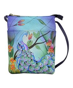 b63237aebae5 Take a look at this Midnight Peacock Hand-Painted Leather Crossbody Bag  today! Small