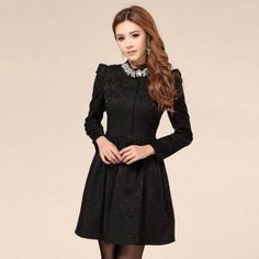 New Fashion Women Long Sleeve Lace Bottoming Slim Dress Stand Collar Rhinestone