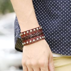 Wide Rivet Braided Leather Bracelet