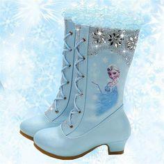 2018 autumn and winter new high boots girls princess high-heeled children sequins snow boots Frozen eu size Little Girl Toys, Toys For Girls, Little Girl Heels, High Heel Boots, Heeled Boots, High Heels For Kids, Shoes For Kids, Frozen Shoes, Accessoires Barbie