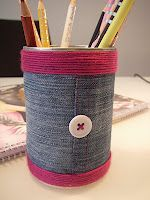 Nicely recycled tin can - I'm 'upcycling' some cans at the moment, for pens, pencils, paint brushes and make up storage - love that you can use old tin cans, buttons and scraps of materials to make something pretty and useful like this!