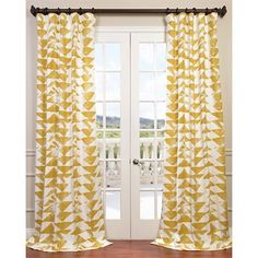 Exclusive Fabrics & Furnishing Triad Gold Printed Cotton Twill Curtain