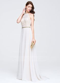 A-Line/Princess Scoop Neck Sweep Train Chiffon Prom Dress With Beading (018076509)
