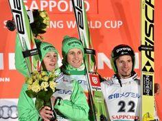 Weltcup Sapporo 2016 1. Peter Prevc, 2. Domen Prevc 3. Robert Kranjec. Team Slowenien