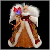 12-inch-tall burgundy and copper fiber optic angel tree topper - costumed in a gorgeous burgundy velvet robe trimmed in ivory faux fur - exquisite porcelain face framed by honey-colored locks - brilliant lights illuminating her lovely flower bouquet and magnificent feather wings - Bronner's CHRISTmas Wonderland - $39.99