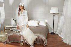 Luxury Sliver Grey 3PCs Silk Bed Sheets Sets