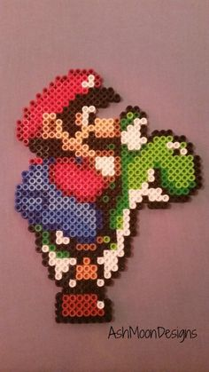 Items similar to mario perler bead numbers on etsy - Mario Perler Bead Figures by AshMoonDesigns on Etsy - Melty Bead Patterns, Pearler Bead Patterns, Perler Patterns, Beading Patterns, Perler Bead Designs, Hama Beads Design, Perler Beads, Fuse Beads, Pixel Art