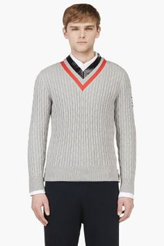 MONCLER GAMME BLEU Grey Striped V-Neck Rowing Sweater