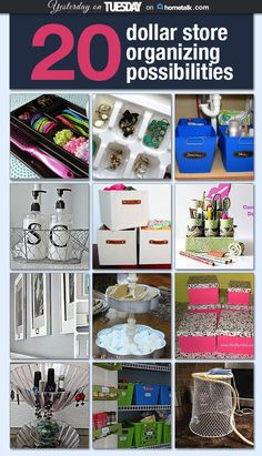 20 ways to organize your life with dollar store items! I loveeee the laundry basket tags--so clever!