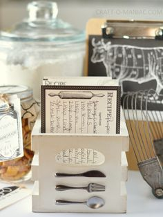 DIY Embellished Recipe Crate Box - add 7gypsies cutlery to the vintage crates for instant recipe box.