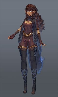 ArtStation – Half-Elf Character Design, Jessica Louvier – About Anime Elf Characters, Dungeons And Dragons Characters, Black Characters, Fantasy Characters, Fantasy Character Design, Character Creation, Character Design Inspiration, Character Art, Female Character Concept